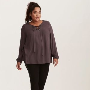Torrid lace up grey textured long sleeve blouse